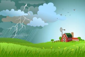 家の遠くに雷が落ちた