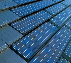 屋根一体型の耐容億発電パネルの例