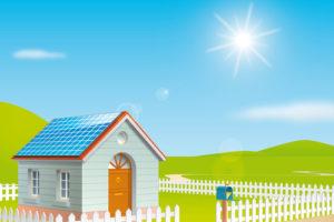 屋根に太陽光発電がついている住宅
